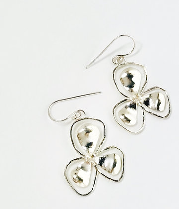 Small Silver Bali Flower Earrings