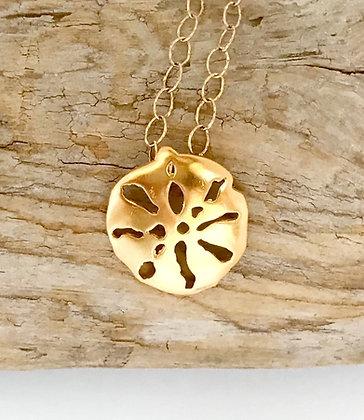 Gold Sand Dollar Necklace -Medium