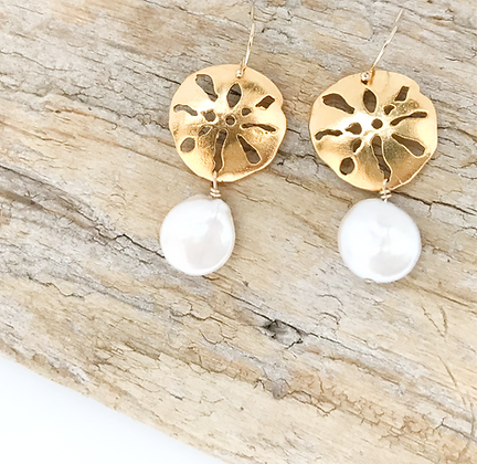 Gold Sand Dollar Earrings with Pearl