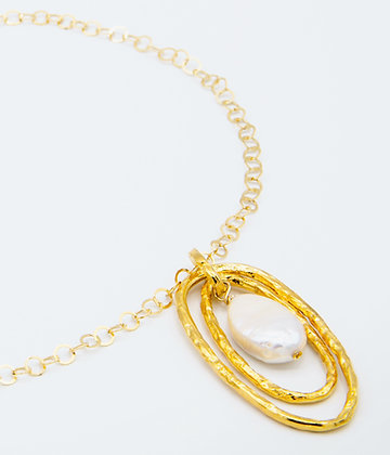 Double oval Necklace - Small Gold
