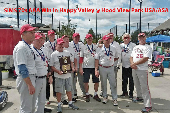 SIMs 70's AAA Win their division in Happy Valley @ Hood View Park in 2018