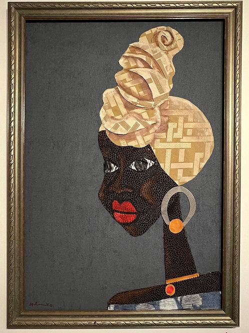 Iyaba Ibo Mandingo - Sister in red lips n silver hoop with gold ball