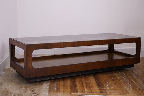 Mid Century Modern Lane Walnut and Smoked Glass Coffee Table