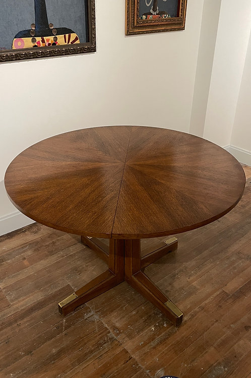 Oak Pinwheel Veneer Mid Century Round Table