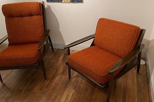 Mid Century Orange Walnut Chairs - a Pair