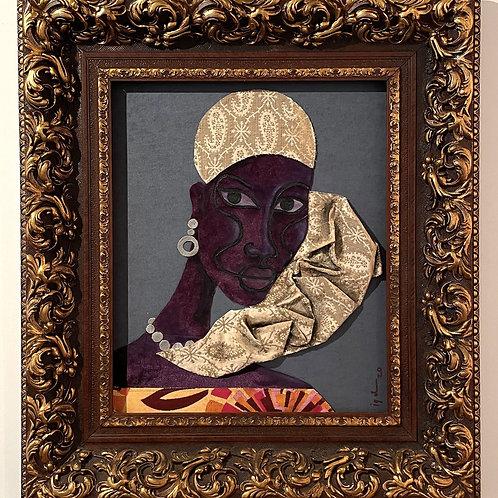 Iyaba Ibo Mandingo - Sister with turban on shoulder yellow dress purple skin