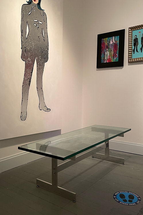 Mid Century Modern Brutalist Glass Table