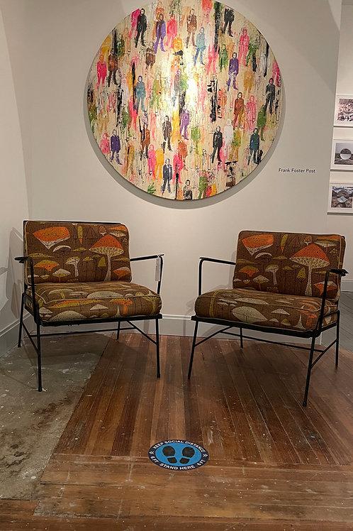 Mid Century Mushroom Fabric Chairs