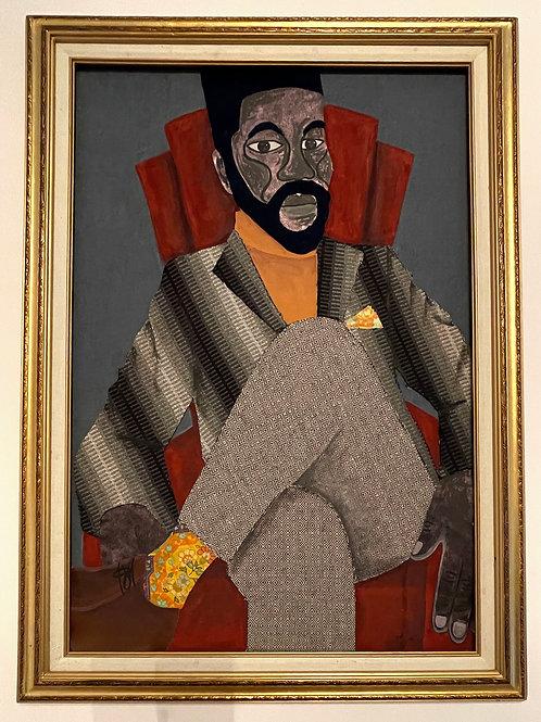 Iyaba Ibo Mandingo - Brother in red chair, legs crossed