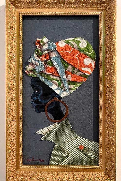 Iyaba Ibo Mandingo - Sister in profile turban big collared green and white coat