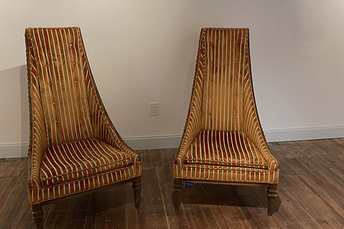 Mid-Century High Backed Chairs - a Pair