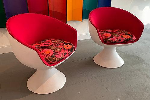 Vintage Mid Century Eero Aarnio Style Atomic Age Chairs - a Pair