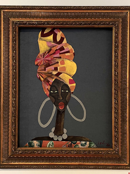 Iyaba Ibo Mandingo - Sister in profile, dreadlocks coming out of turban