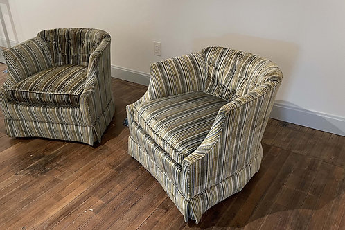 Drexel Heritage Low Backed Striped Chairs