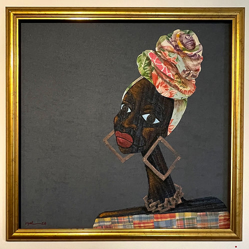 Iyaba Ibo Mandingo - Sister with square earrings tie dye turban plaid dress