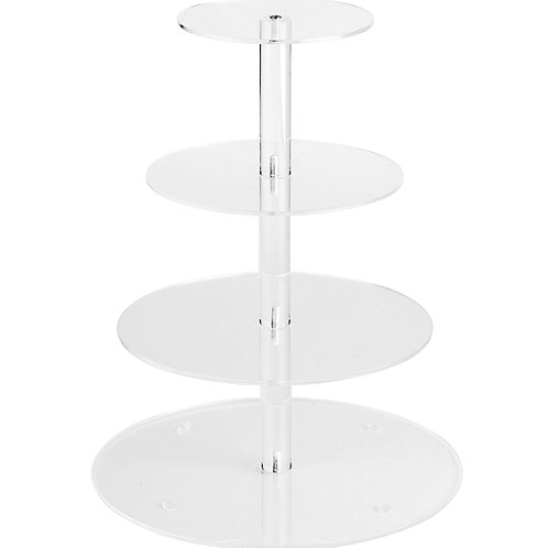 4-Tier Round Acrylic Cupcake Tower Display Stand - 015