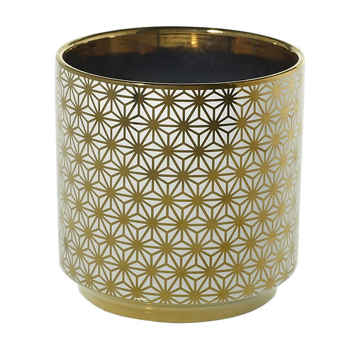 Medium Spade Pot Gold Flowers - 001A