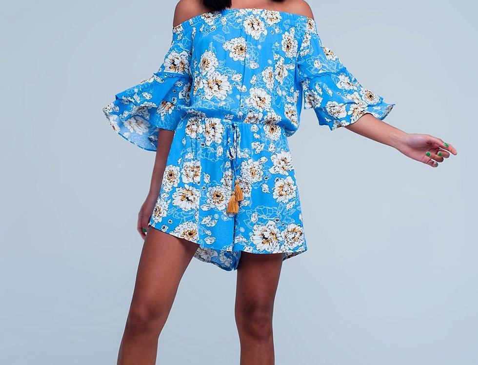Blue Jumpsuit With Flower Print