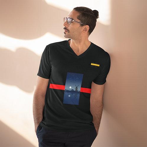 T-shirt léger à col en V pour hommes Noir (MOLIN'OR)