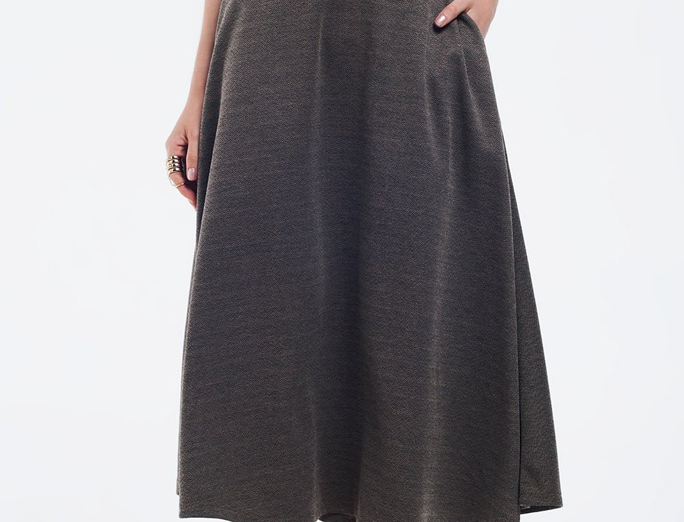 Brown Midi Skirt With Belt and Pockets