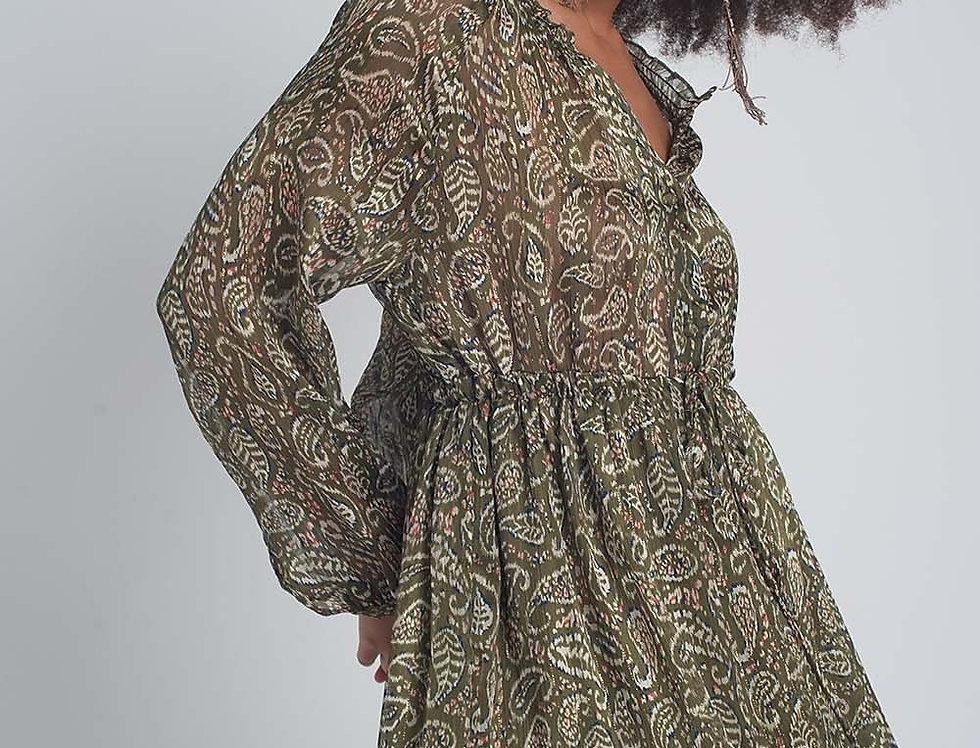 Mini Smock Dress in Green Paisley