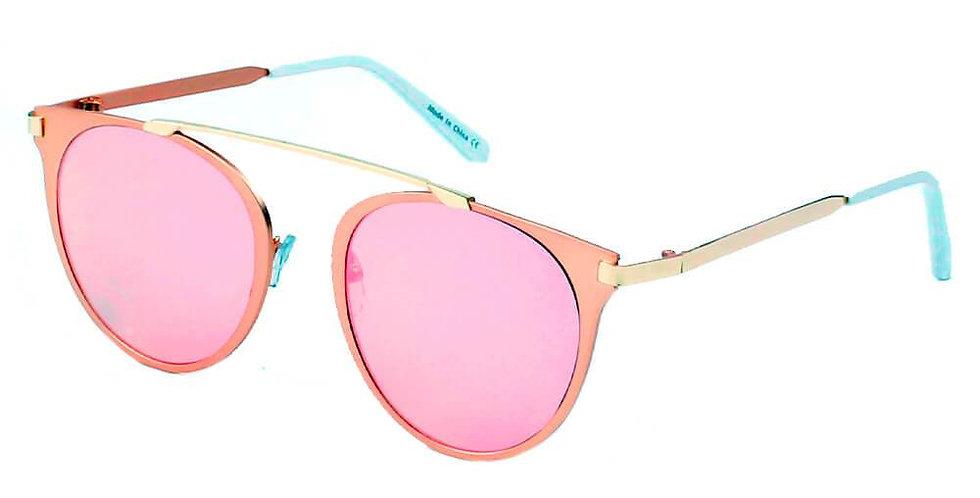 FRISCO | A18 - Modern Horn Rimmed Metal Frame Round Sunglasses