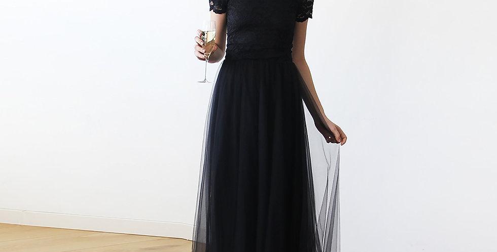 Black Lace Off-The-Shoulder Tulle Maxi Dress  #1139
