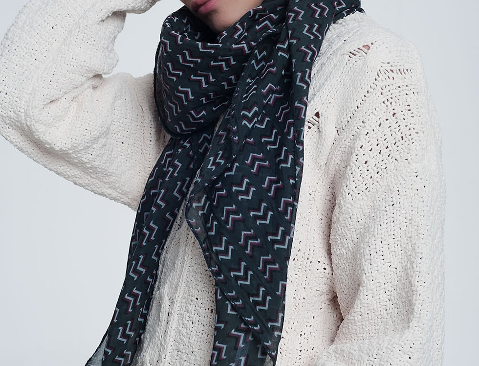 Grey Colored Scarf With Print