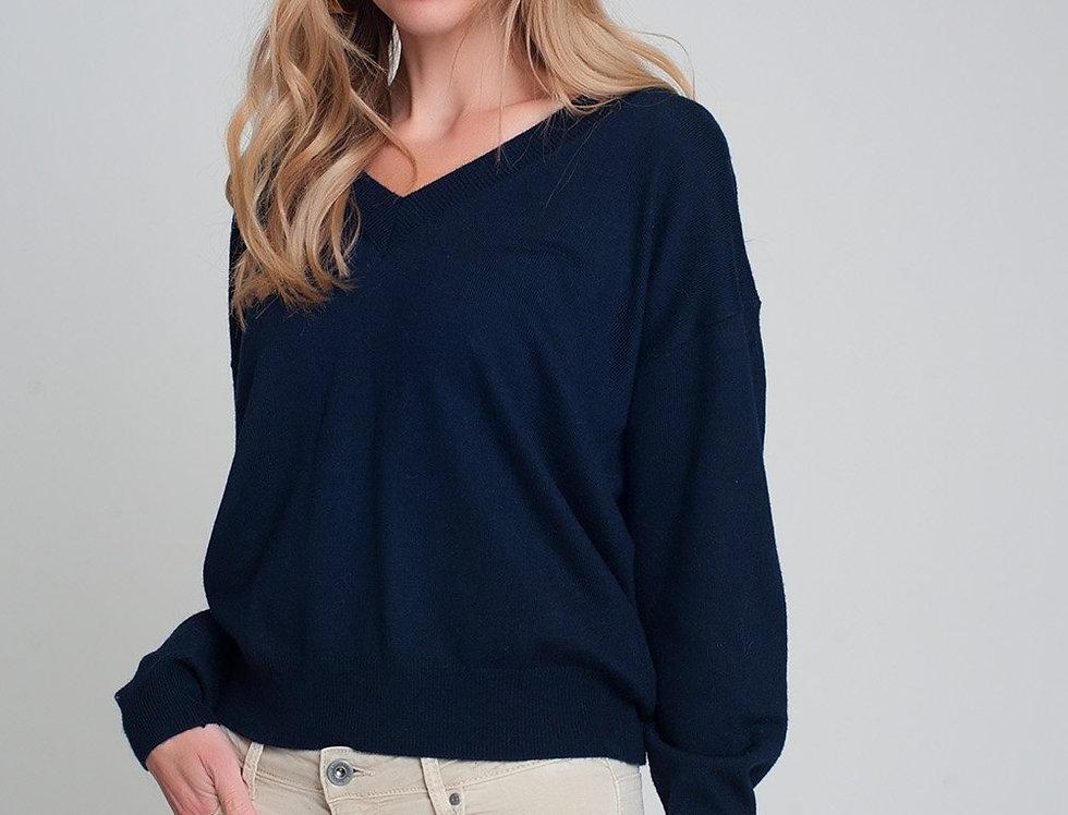 Fine Knit Navy Sweater With v Neck