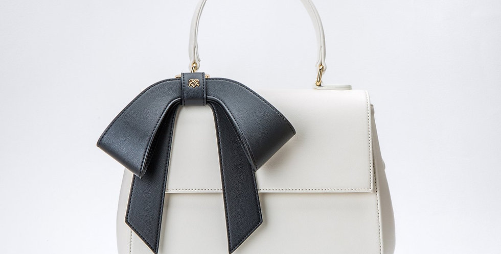 Cottontail - White+Black Vegan Leather Bag