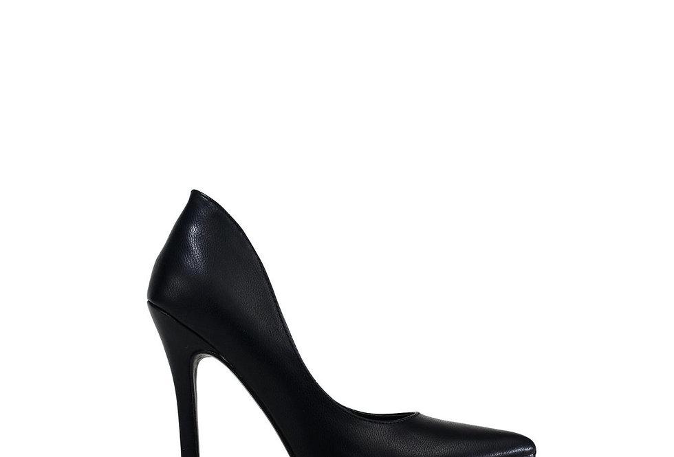 Ladies Stiletto Heel Slip on Black PU Shoes
