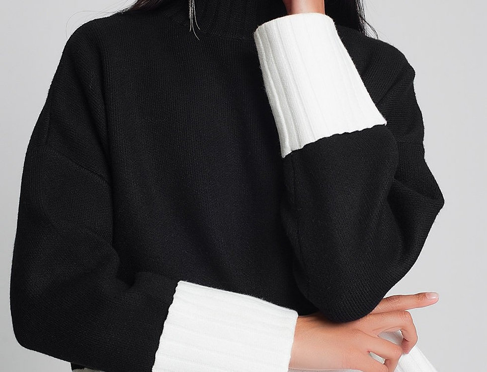 Black High Neck Knitted Sweater With White Cuffs