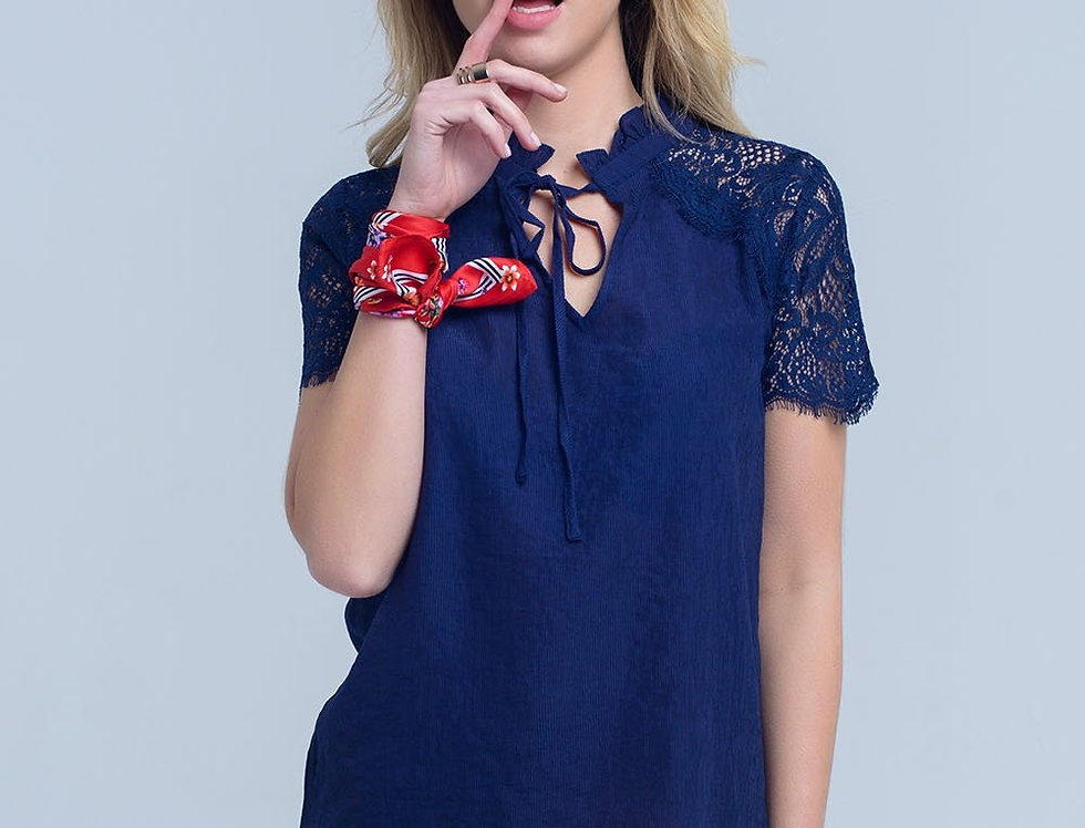 Navy Blouse With Lace Insert