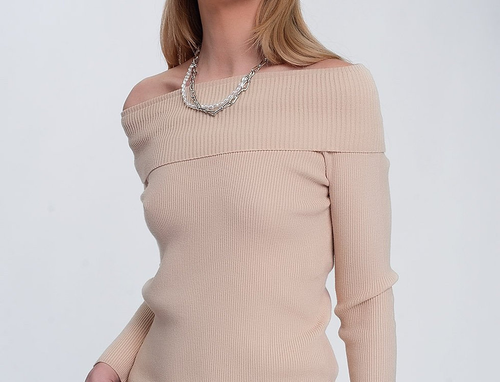 Rib Bardot Jumper in Beige