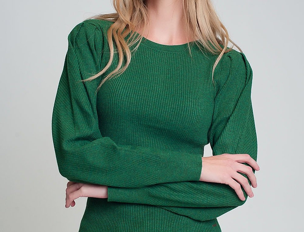 Round Neck Rib Knitted Sweater With Long Sleeves in Green