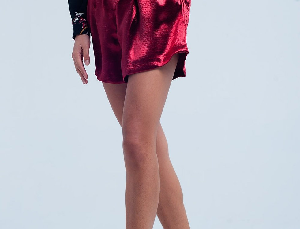 Red Satin Shorts With Waist Tie