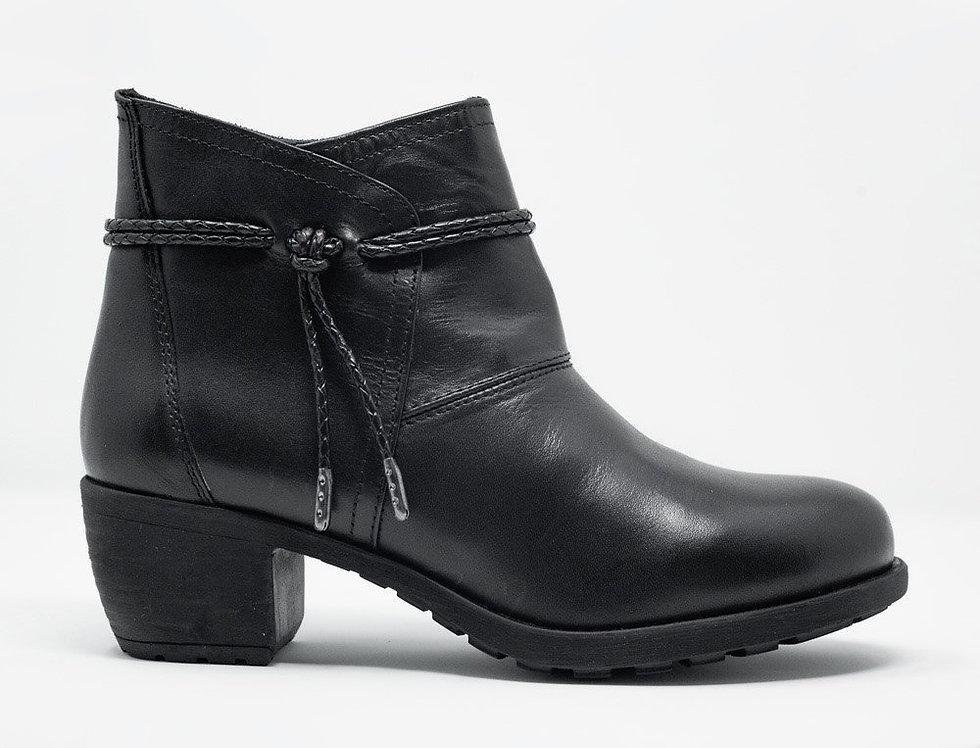 Black Blocked Mid Heeled Ankle Boots