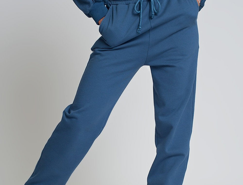 Basic Sweatpants With Tie Waist in Cotton in Blue