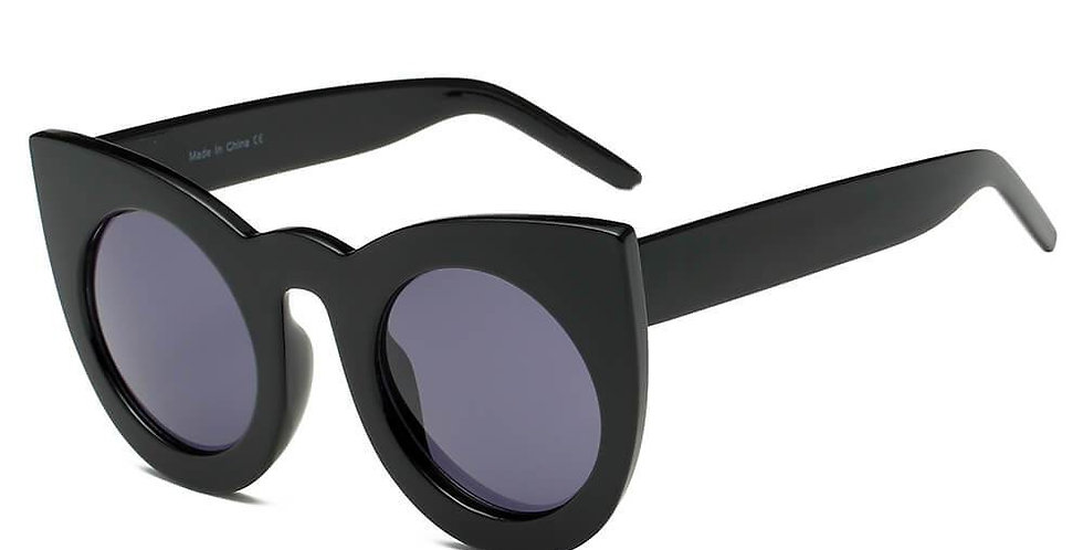 HINTON | S1066 - Women Round Cat Eye Oversize Sunglasses