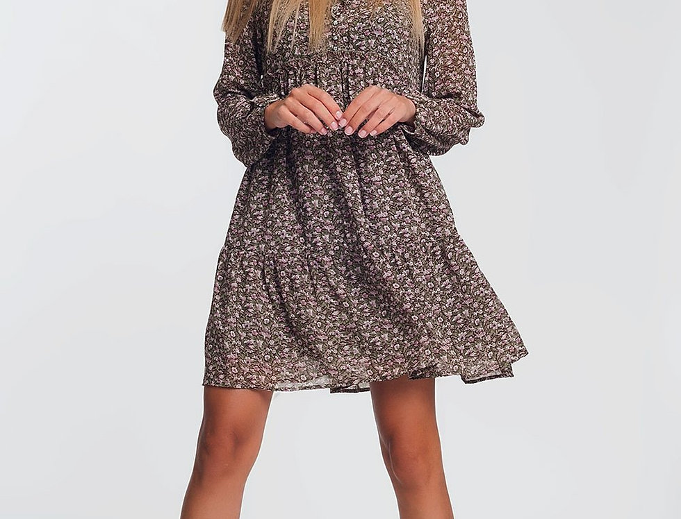 Smock Mini Dress With Ruffle Neck in Brown Ditsy Floral