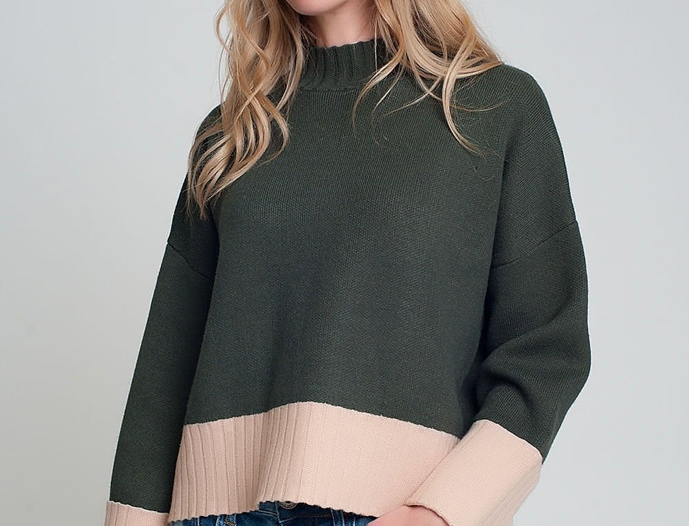 Khaki High Neck Knitted Sweater With Pink Cuffs