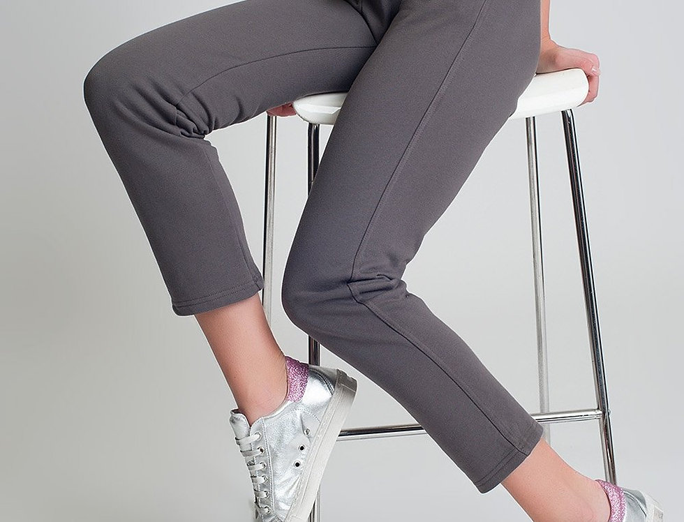 Straight Leg Sweatpants in Cotton in Gray