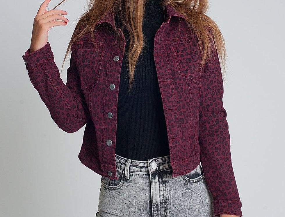 Maroon Reversible Denim Jacket With Leopard Print
