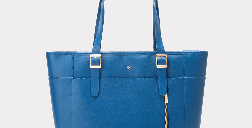 Miley - Blue Vegan Leather Laptop Bag