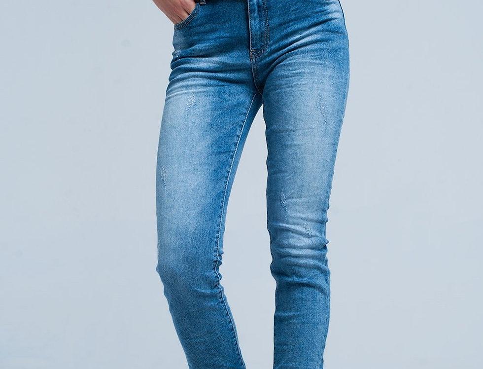Fringed Medium Washed Skinny Jeans