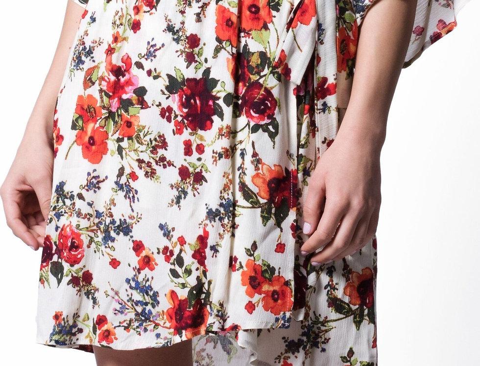 Wanderlux Women's Marrakesh Floral Print Faux Wrap Midi Dress