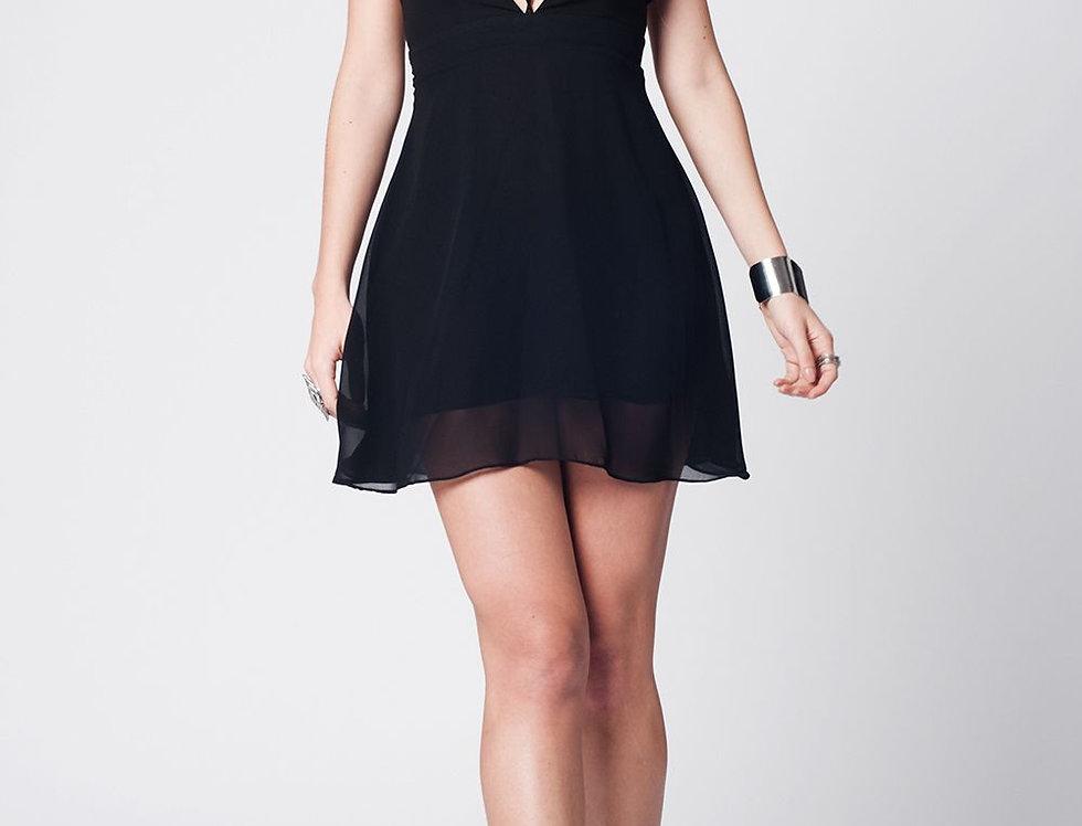 Black Cross Back Stripes Short Dress