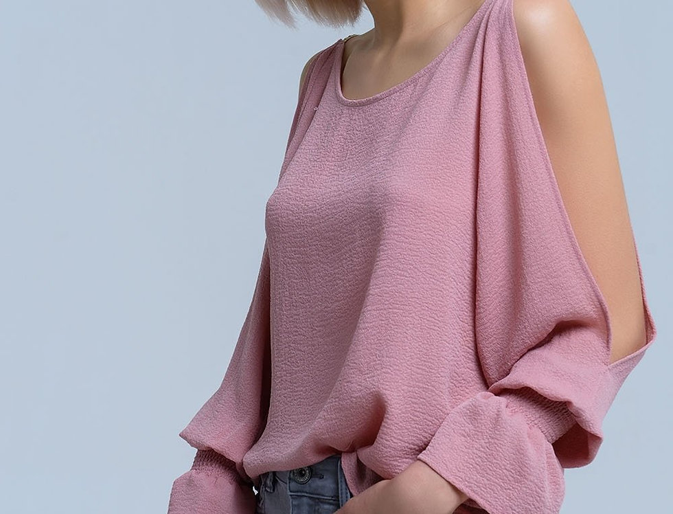 Open Shoulders Long Sleeve Pink Blouse