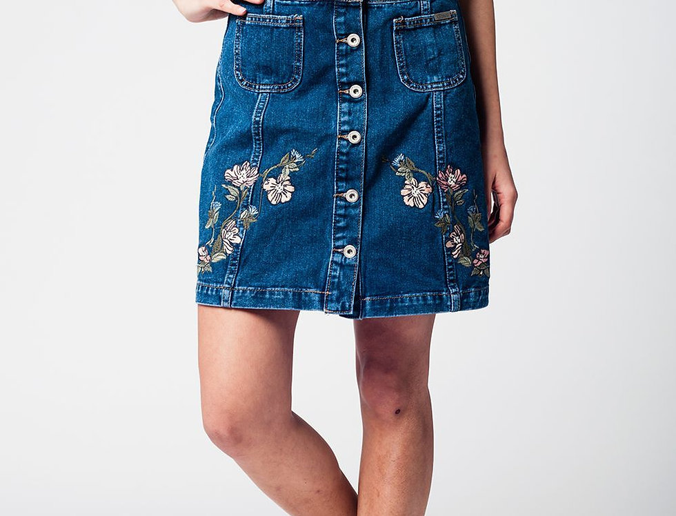 Denim Skirt With Flower Embroidery and Front Buttons