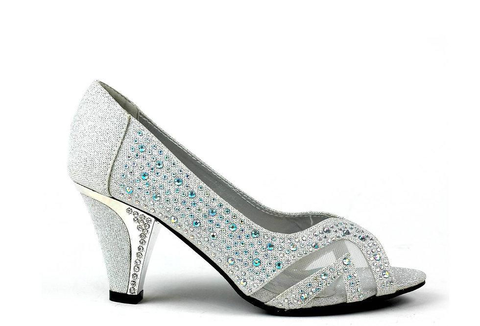 Mannat Peep Toe Mid Heel Sandal Silver